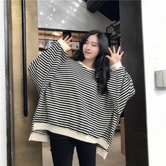STRIPED LOOSE ASYMMETRIC PULLOVER SWEATER