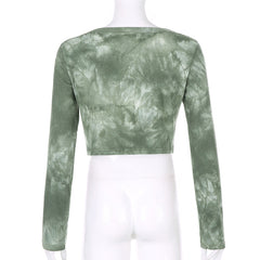 INK PAINTING TIE-DYE KNIT LONG SLEEVE CARDIGAN TOP
