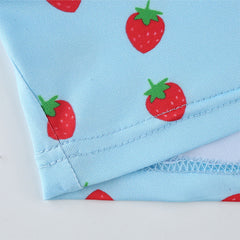 BLUE STRAWBERRY PRINT VEST