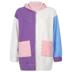 COLOUR BLOCK FLEECE HOODIE JACKET