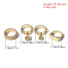 PUNK GEOMETRIC LOCK RING SET