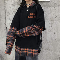 PLAID FAKE TWO-PIECE LONG SLEEVE TOP