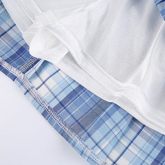 RING BUTTON BLUE PLAID PLEATED SKIRT