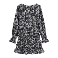 FLORAL SQUARE COLLAR SLIM DRESS