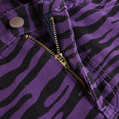 PURPLE ZEBRA DENIM SKIRT