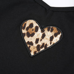 FEATHER STRAP LEOPARD HEART VEST