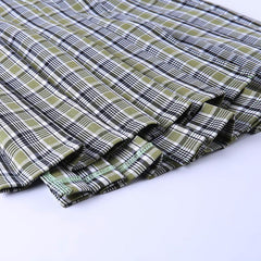 PLAID PLEATED CHAIN SKIRT
