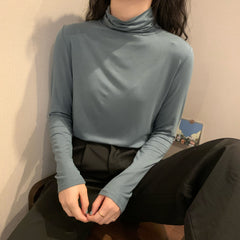 SOLID COLOR PILE COLLAR BOTTOMING SHIRT