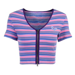 DOUBLE ZIPPER BUTTERFLY PATCH STRIPED CARDIGAN TOP