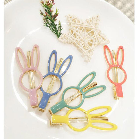 CANDY FLUORESCENT RABBIT EAR HAIR CLIP (5PCS)