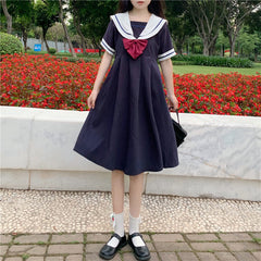 NAVY COLLAR SAILOR SUIT DRESS