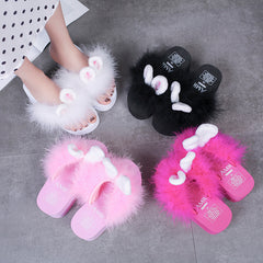 FURRY BUNNY EARS WEDGE SLIPPERS (4.5-10)