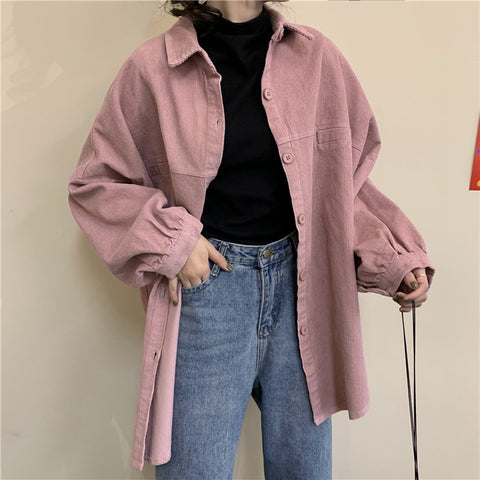 SOLID COLOR CORDUROY COAT SHIRT
