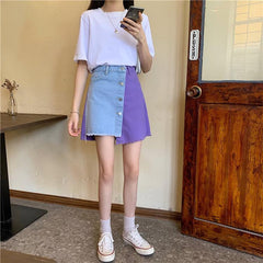 BUTTONED COLORBLOCK DENIM SKIRT 202101