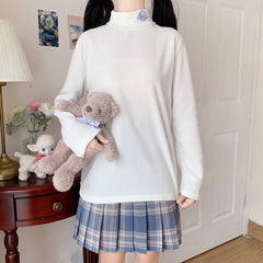 PUPPY EMBROIDERED TURTLENECK POLAR FLEECE BOTTOMING SHIRT