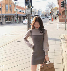 FAKE TWO-PIECE COLOR-BLOCKING LANTERN SLEEVE KNITTED DRESS