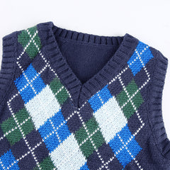 DIAMOND CHECK CONTRAST KNIT VEST