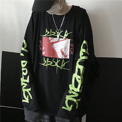 DARK GRAFFITI FAKE TWO-PIECE LONG SLEEVE T-SHIRT
