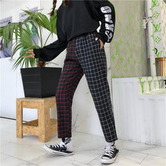 STITCHING PLAID PANTS