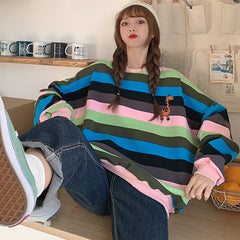 GIRAFFE RAINBOW STRIPE SWEATER