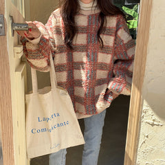 PLAID LAMBSWOOL PULLOVER SWEATER