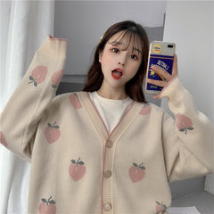 PEACH KNIT CARDIGAN SWEATER
