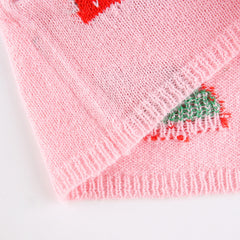 STRAWBERRY EMBROIDERED KNIT VEST