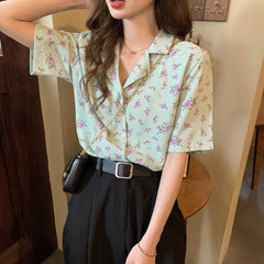FLORAL SUIT COLLAR SHORT SLEEVE SHIRT