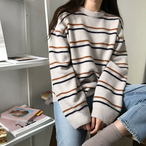 STRIPED CREW NECK PULLOVER SWEATER