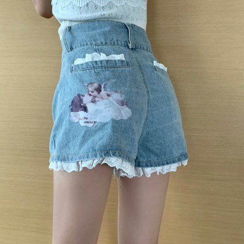 ANGEL PRINT DENIM SHORTS