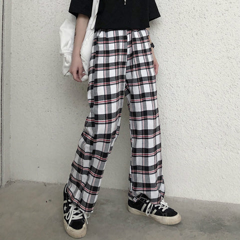 B&W PLAID HIP HOP WIDE LEG PANTS