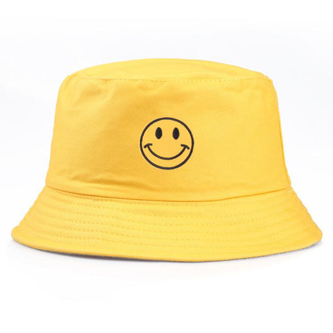 SMILEY EMBROIDERED BUCKET HAT