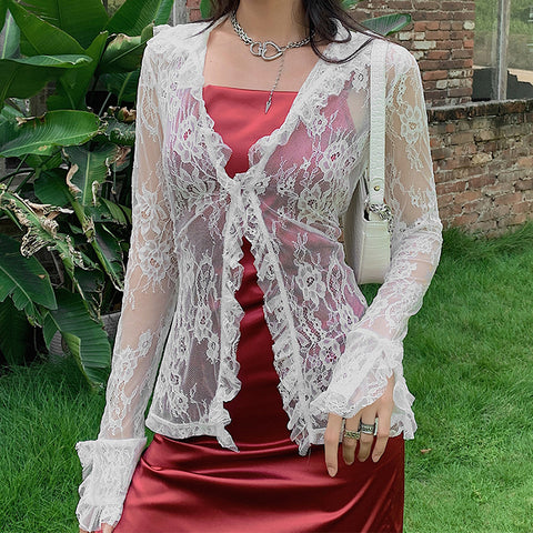 LACE MESH SEE THROUGH V NECK CARDIGAN TOP