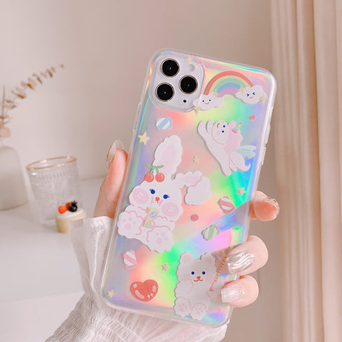 HOLOGRAPHIC RAINBOW BUNNY IPHONE CASE