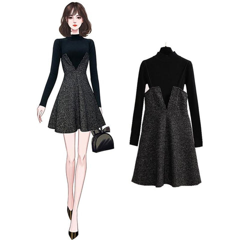 TEMPERAMENT KNIT TOP AND SUSPENDER DRESS SET