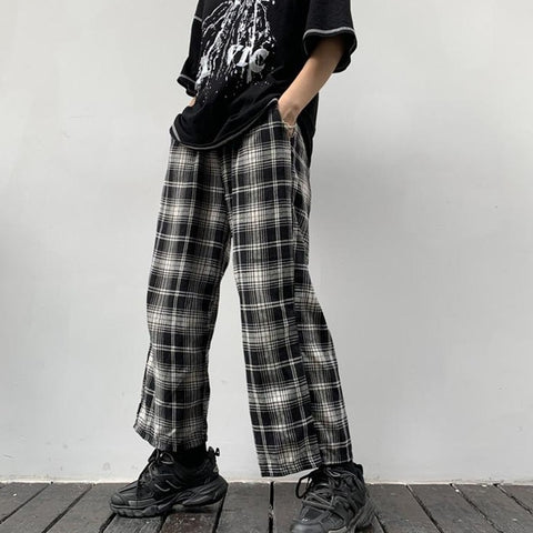B&W PLAID STRAIGHT WIDE LEG PANTS