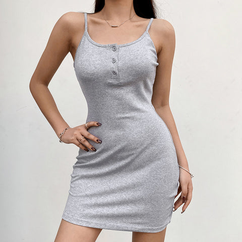 SOLID COLOR BUTTON SLING DRESS