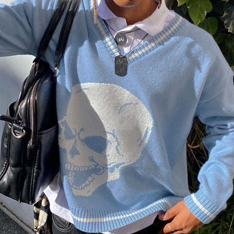 SKULL HEART V-NECK KNIT SWEATER