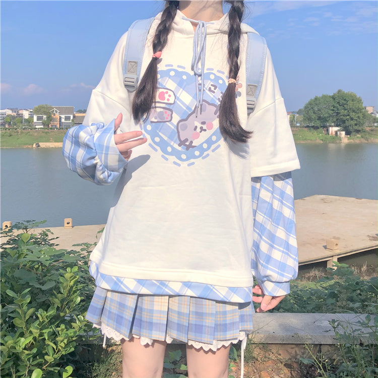 HEART CAT PLAID SLEEVE STITCHING FAKE TWO PIECE HOODIE