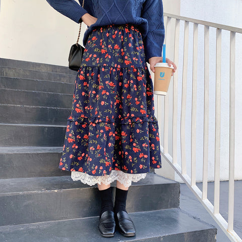 LACE STITCHING FLORAL CORDUROY MIDI SKIRT