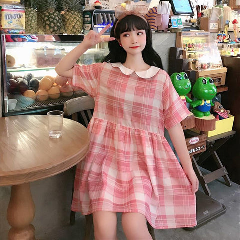JAPANESE DOLL PLAID DRESS