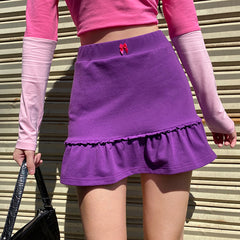 PURPLE PLEATED LACE MINI SKIRT