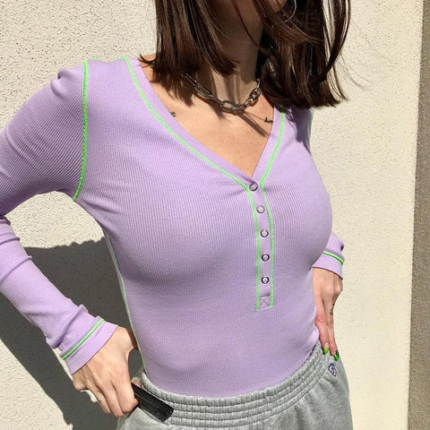 PURPLE LONG SLEEVE BODYSUIT