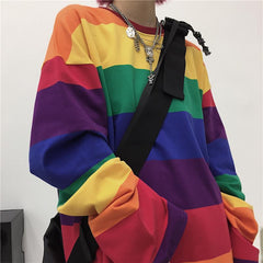 RAINBOW STRIPE LONG SLEEVE SHIRT