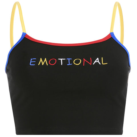 EMOTIONAL EMBROIDERED CROP VEST