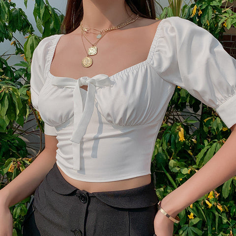 SQUARE COLLAR SHORT SLEEVE TIE UP CROP TOP