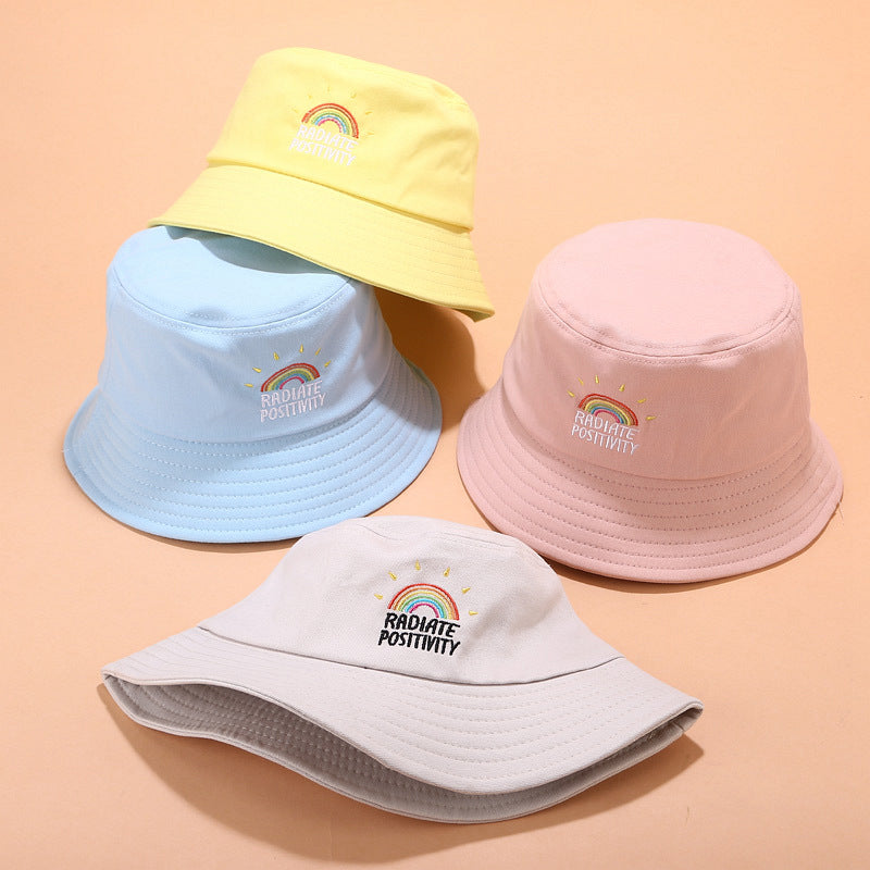 RAINBOW EMBROIDERED BUCKET HAT