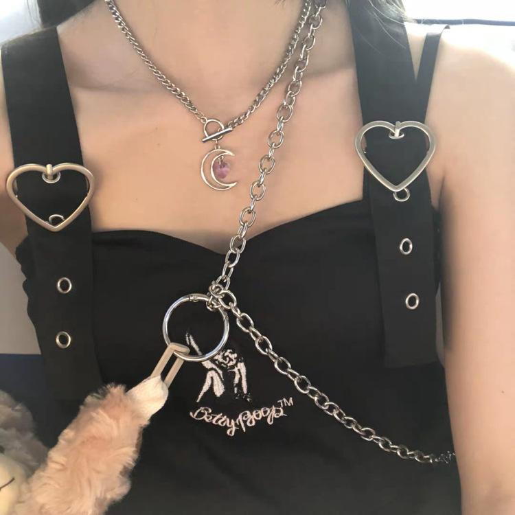 HOLLOW MOON HEART CRYSTAL NECKLACE AND BRACELET