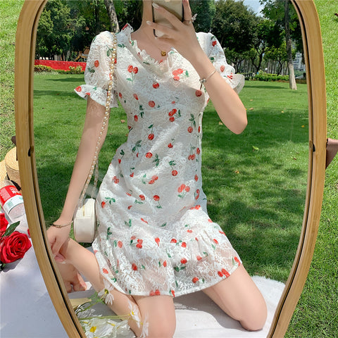 CHERRY PRINT LACE DRESS