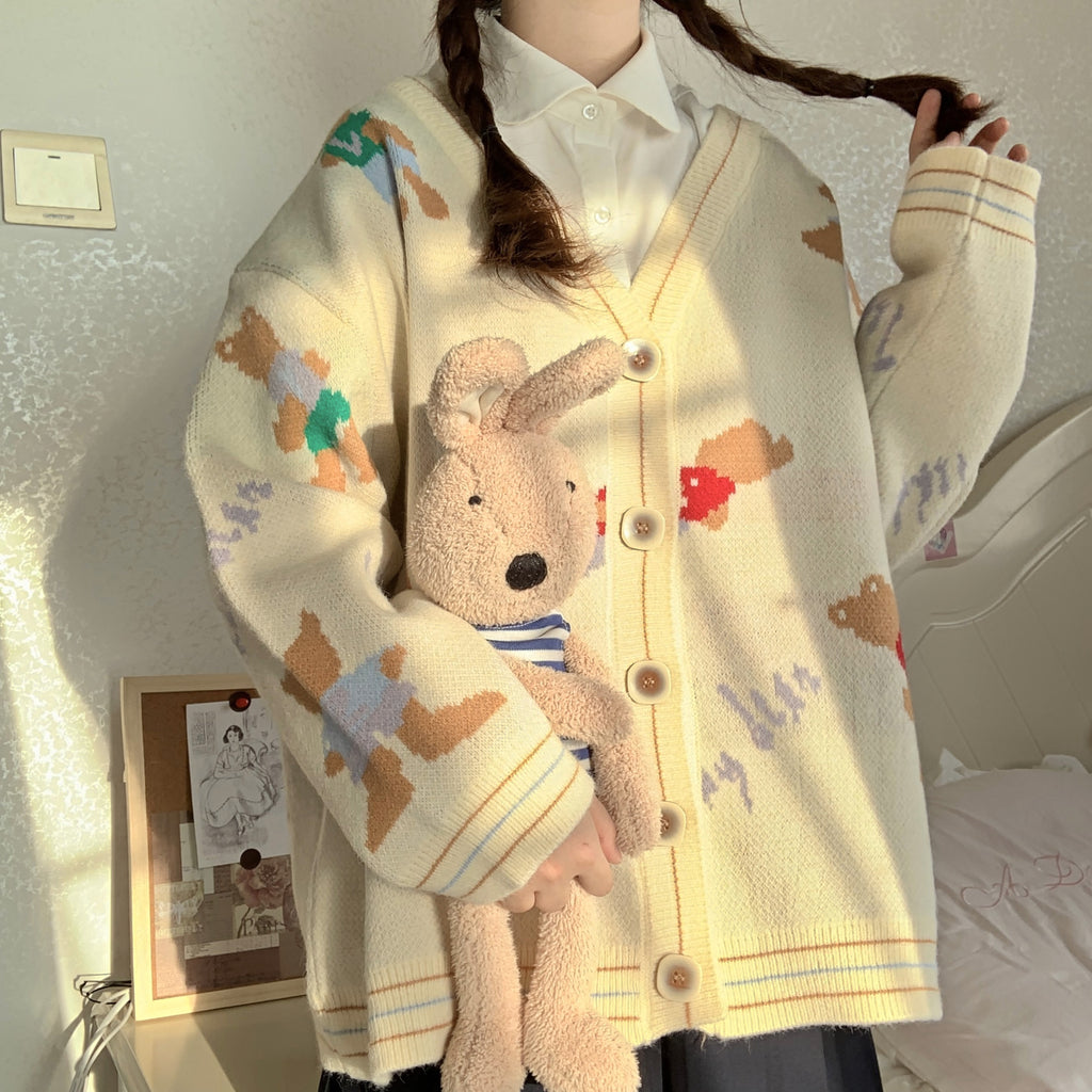 BEAR LONG SLEEVE CARDIGAN SWEATER